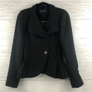 Zara Woman Smocked Asymmetrical Military Jacket